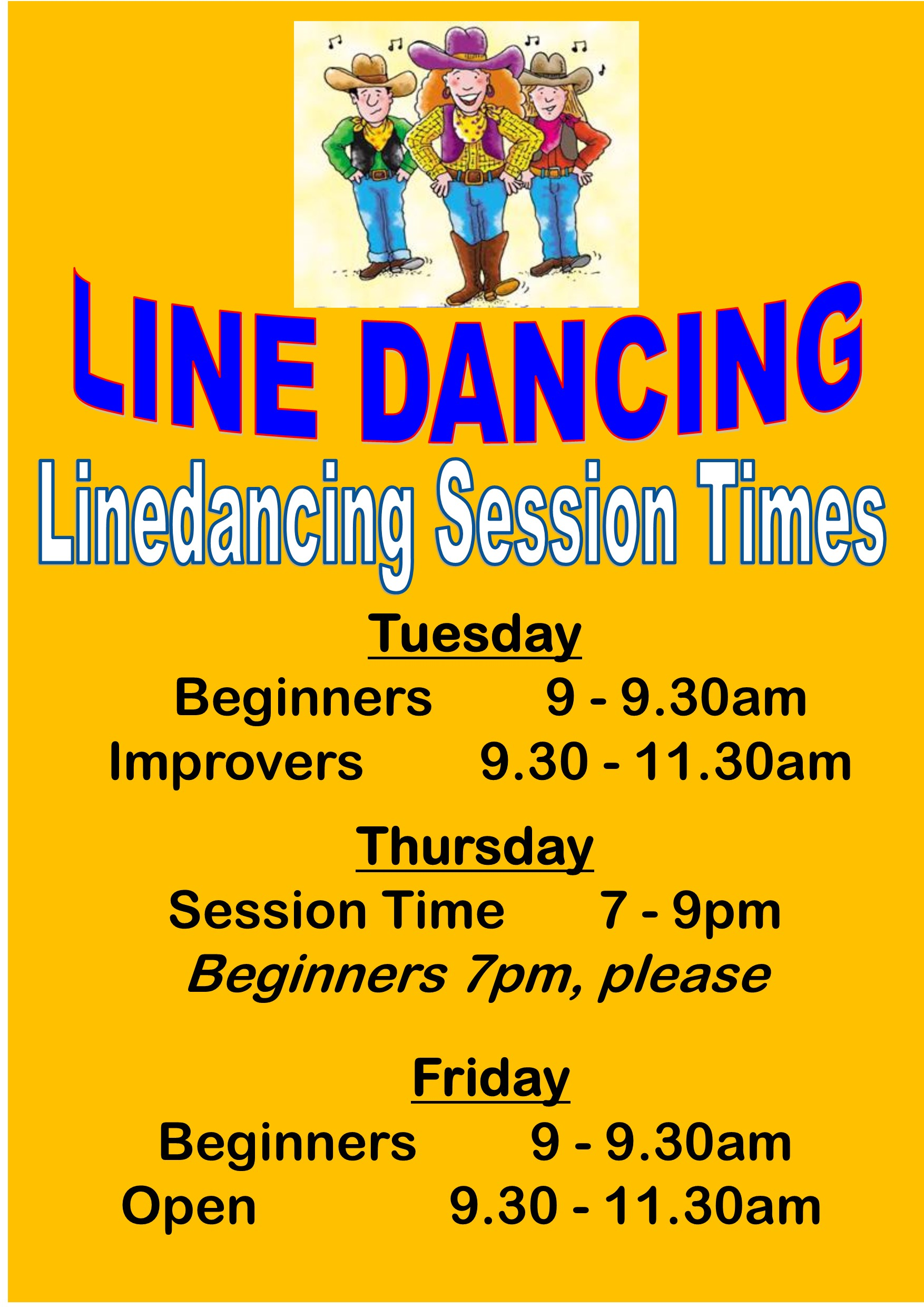 Linedancing Session Times